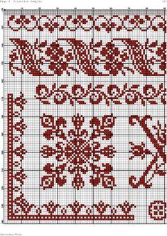 Cross Stitch Borders, Cross Stitch Flowers, Cross Stitch Charts, Cross Stitch Embroidery, Cross Stitch Patterns, Crochet Border Patterns, Fair Isle Knitting Patterns, Embroidery Patterns, Cross Stitch Cushion