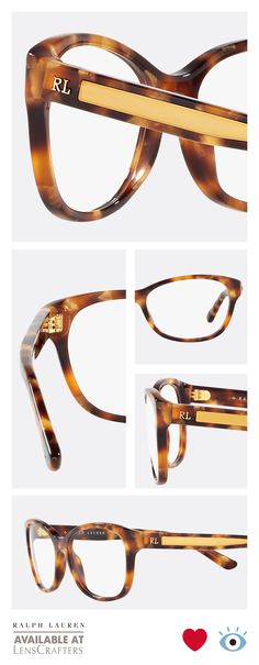 920a7839990 These Art Deco inspired Ralph Lauren tortoise glasses with sophisticated  gold details on the temple are