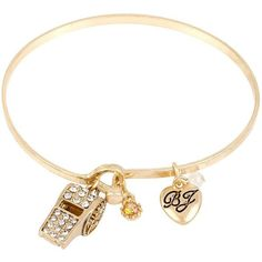 Betsey Johnson Wanderlust Whistle Bangel ($15) ❤ liked on Polyvore featuring jewelry, crystal, antique gold bangle bracelet, charm bracelet bangle, charm jewelry, hinged bracelet and golden jewelry