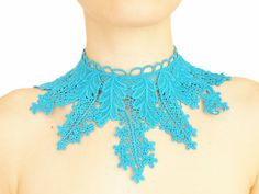 Ustosia // Handmade Blue Turquoise Crochet Cotton Lace by EPUU, $34.00