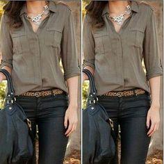 Womens Shirt Loose Long Sleeve Blouse Business Casual Tops Chiffon Blouse Vogue