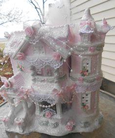 Shabby Pink Victorian Christmas Village House Chic Roses Glitter | eBay