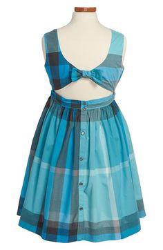 Burberry Check Print Cutout Back Cotton Dress (Little Girls & Big Girls) | Nordstrom