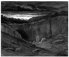 'All hope abandon, ye who enter here', by Gustave Dore for his illustrated edition of Dante Alighieri's 'Inferno'. this illustration accompanies Canto Line Gustave Dore, Dante Alighieri, Illustrations, Book Illustration, The Divine Comedy, Apocalypse, American Imperialism, Inferno Dan Brown, Gates Of Hell