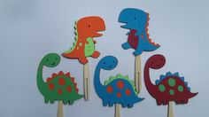 12 Dinosaur Cupcake Toppers Dinosaur by LittleMissStarchick, $10.00
