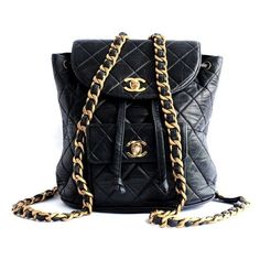 vintage chanel backpack ❤ liked on Polyvore featuring bags, backpacks, pin bag, chanel backpack, knapsack bag, chanel and backpack bags