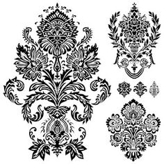 Free Digi Stamps | Flourish Ornaments Damask