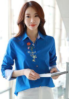 StyleOnme_Flower Embroidered Stripe Cuff Collared Shirt #blue #springtrend #elegant #feminine #blouse #koreanfashion #kstyle #seoul