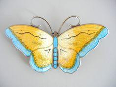 Hroar Prydz Norway Pin Enamel Sterling Butterfly