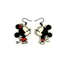 Mickey mouse Minnie Mouse Romantic Couple in Love, Vintage Art Print,... (€25) ❤ liked on Polyvore featuring jewelry, earrings, pendant earrings, charm earrings, vintage earrings, vintage pendants and charm jewelry
