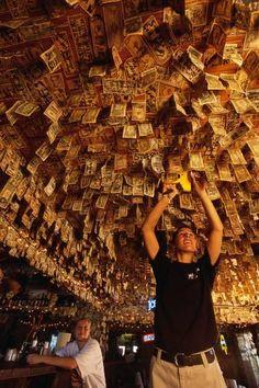 No Name Pub. On No Name Key. Dollar bills are plastered and hung everywhere. Photograph: Bob Krist/Corbis