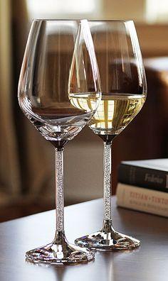 I really want these. Swarovski Crystalline White Wine Glasses, Pair