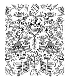 Just Add Color: Day of the Dead: 30 Original Illustrations To Color, Customize, and Hang Skull Coloring Pages, Pattern Coloring Pages, Cat Coloring Page, Mandala Coloring, Coloring Book Pages, Printable Coloring Pages, Coloring Sheets, Adult Coloring, Mexican Pattern