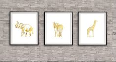 Safari Animal Print set of 3. These prints are done with shiny gold finish. These Safari Animal prints will make a perfect gift to a love one or
