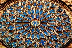 This is a detail of the rose window at Santa Maria del Pi, a 14th-century Catalan Gothic church in Barri Gotic quarter, Barcelona.