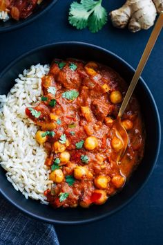 One Pot Chickpea Tiki Masala- an easy and nutritious meal made with warming spices, fire roasted tomatoes, fresh ginger and coconut milk. Just 30 minutes to make! (vegan + gluten-free)
