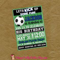 SOCCER Birthday Party Invitation Invite  by PokeysPrettyParties
