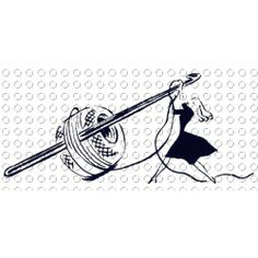 Crochet Lady in a Hurry   [Free Crochet Hook Clip Art]