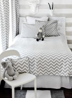 Zig Zag Bedding Set by New Arrivals Inc., Kids Bedding Sets, Bedding for Children Cama Chevron, Grey Chevron Bedding, Gray Chevron, Chevrons, Chevron Bedrooms, Chevron Curtains, Chevron Pillow, Chevron Fabric, Babies Rooms
