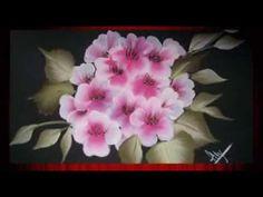 Pintando flores paso a paso con pintura decorativa de pinceladas - YouTube
