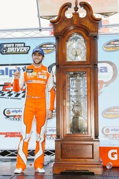 Chase with his first Martinsville Grandfather Clock after his truck win 2017 Sprint Race, Sprint Cup, Chase Elliott Nascar, Jr Motorsports, Bill Elliott, Ryan Blaney, Nascar Race Cars, Car Racer, Kyle Busch