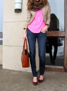 cream leather jacket, pink blouse, animal print scarf, skinny jeans and wedges.