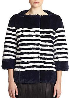 f*ck yeah fur - Rabbit Fur Stripe Jacket by Marc Jacobs