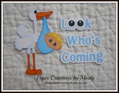 Baby Stork with title premade paper piecing  scrapbooks pages albums borders bl