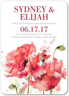 Splash of Blossoms - Signature White Wedding Invitations in Bloom or Berry…