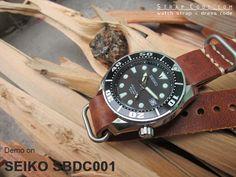 SEIKO 200m SUMO Scuba Diver SBDC001 on 20mm MiLTAT G10 Grezzo Zulu watch strap Mahogany BL [20P20EBU55N5C01-XX]