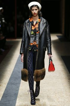 Sailor Hat and fur trimmings but take note of the tights within the collection. Tights and open-toed shoes Prada Fall 2016 Ready-to-Wear Fashion Show