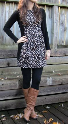 Love this small patterned dress cinched at the waist with opaque black tights and this cardigan you have! You can do either brown or black boots.