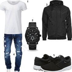 Herren-Outfit mit weißem Crone Shirt, schwarzer Fossil Herrenuhr, schwarzem Windbreaker, Merish Destroyed Jeans und schwarzen Supra Schuhen.