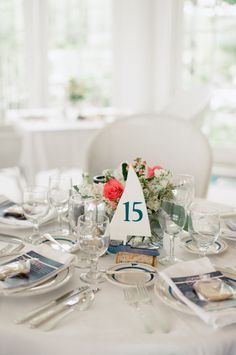 Nautical chic table decor: http://www.stylemepretty.com/minnesota-weddings/2015/10/02/elegant-nautical-wedding-at-white-bear-yacht-club/ | Photography: Jeffrey Sampson - http://www.jeffreysampson.com/