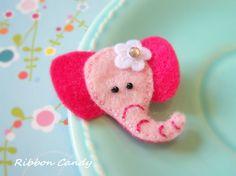 Pink Elephant Felt Hair Clip - non slip with a little sparkle - white flower - circus birthday,carnival party hair clip. $3.25, via Etsy.