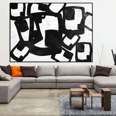 Large abstract painting on canvas, Large Acrylic wall art, Geometrical Painting on Canvas, Black White canvas painting, livingroom decor