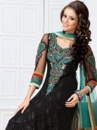 Interesting black party wear anarkali: KSL2481