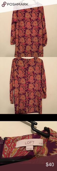 BOGO buy one, get one 1/2 off Must have paisley printed dress...excellent condition...fully lined...100% polyester LOFT Dresses