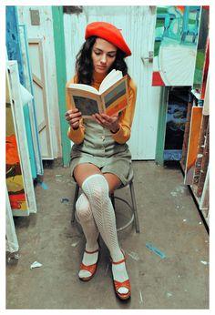 Vintage 1960's Mod Gingham Jumper - Hip Beatnik Dress. $48.00, via Etsy.. socks with sandals, turtleneck