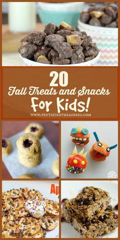 20 Fun fall treats and snacks for kids -- HUGE list of munchies your kids will love! #fall #treatsandsnacks #snakcsforkids #easytreats #kidstuff www.pintsizedtreasures.com