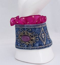 Cuff Embroidered Jeans Bracelet Bracelet with by evecollection, $25.50