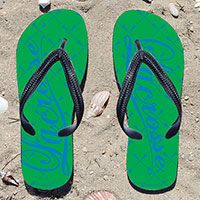 Lacrosse Word Lacrosse Stick Pattern Green/Blue Girls Flip Flops - Kick back after a lacrosse game with these great flip flops! Fun and functional flip flops for all lacrosse players and fans.