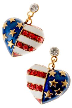 Patriotic Flag Heart Earrings - American flag heart shaped drop earrings in red, white and blue enamel, with gold plate stars and red diamond like crystals. Price: $14.50 #American flag earrings #patriotic heart earrings #heart earrings http://www.starsandstripesproducts.com/patriotic-flag-heart-earrings/