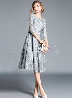 Embroidery Lace O-Neck Sleeve A-Line Dress Sheer Sleeve Dress, Maxi Dress With Sleeves, Vestidos Mob, Long Mermaid Dress, Mob Dresses, Skater Dresses, Party Dresses, Midi Cocktail Dress, Groom Dress