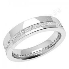 PDW110PL - Platinum 4.5mm wide ladies wedding ring with channel set princess cut diamonds going all the way around. - Platinum Ladies Diamond-Set - Ladies Diamond-Set - Wedding Rings