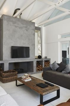 Fashionable Fireplaces & Fire Pits Finished with Cemcrete