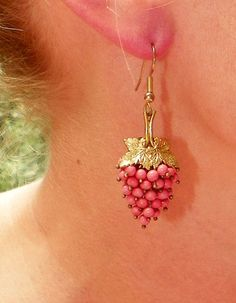 1930's Deco Czech Coral Salmon Pink Grape Earrings by WillowBloom, $68.00