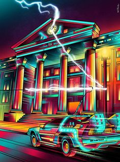 Hill Valley - Van Orton Design - Poster im Holzrahmen New Retro Wave, Retro Waves, Pop Art Posters, Movie Posters, One Point Perspective, Images Star Wars, Rick Y Morty, Bttf, Michael J