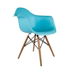 Poly and Bark Eames Style Molded Plastic Dowel-Leg Armchair (DAW) Natural Legs, Blue, Set of 2