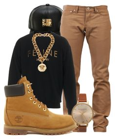 """More Mens Wear"" by kokoclinton ❤ liked on Polyvore featuring Naked & Famous, Brian Lichtenberg, Versace, Timberland and Olivia Burton"